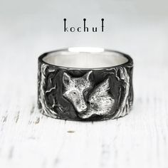 """Silver wolf ring """"Wolf tenderness"""" from Kochut. Ring with wolf love Promise Rings For Him, Rings For Men, Wolves And Women, Wolf Jewelry, Personalized Gifts For Men, Ring Pictures, Stylish Jewelry, Love Ring, Sterling Silver Jewelry"""