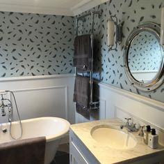 Another great start to the year to be sent this beautiful image of our Free Fall wallpaper in a client's bathroom. Nothing better than happy customers! Thank you @camillabalmer for such a wonderful order and picture. #wallpaper #feathers #interiors #design #detail #bathroom #inspiration #colour #decoration #home #interiordesign #luxury #lifestyle #living