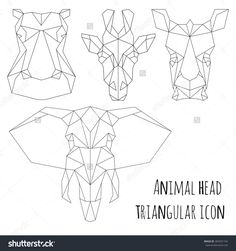 Animal Head Triangular Icon Geometric Trendy Line Design Vector Illustration Ready For Tattoo Or Elephant TattoosOrigami Tiger