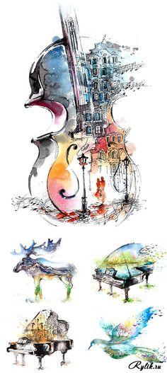 Акварельные рисунки - птица, рояль, лось, контрабас. Abstract drawings