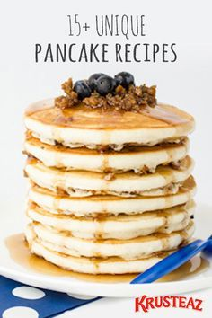Make breakfast a big deal (a big, delicious deal) with these 15+ Unique Pancake Recipes. With one-of-a-kind combos like Blueberry and Sausage Pancakes, Apple Cider Pancakes, Ricotta Almond Pancakes with Cinnamon Pear Topping, as well as delicious gluten-free options—you can't go wrong with any one of these must-try breakfast ideas.