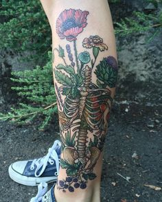 Human skeleton's torso is overgrown with medicinal flowers including poppy, lavender. - Human skeleton's torso is overgrown with medicinal flowers including poppy, lavender, marigold, gl - Tattoos Bein, Leg Tattoos, Flower Tattoos, Body Art Tattoos, Cool Tattoos, Tatoos, Sleeve Tattoos, Tattoo Life, Get A Tattoo
