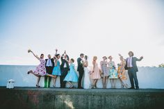 fun and colourful bridal party - Read more on One Fab Day: http://onefabday.com/a-colourful-dromquinna-manor-wedding-by-dave-mcclelland/