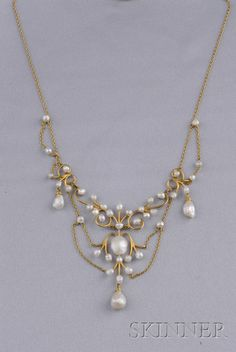 Art Nouveau 14kt Gold and Freshwater Pearl Necklace