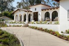 Spanish coastal style home with sophisticated interior styling in California spanish-coastal-mediterranean-exterior Hacienda Style Homes, Mediterranean Style Homes, Spanish Style Homes, Spanish House, Spanish Revival, Mediterranean House Exterior, Spanish Style Interiors, Spanish Bungalow, Spanish Colonial