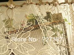 Whole sale ~~ CUSTOM Vintage Lace Valance BURLAP Curtain SHABBY Cottage Chic Cream ~ ONE Panel $16.99