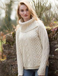 Cowl Button Neck Aran Sweater | Aran Sweater Market - white, soft grey, or parsnip