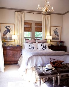 Love this bedroom. Neutral but not boring, warm and cozy. Wood accents, bamboo shades, cream curtains white bedspread. Just shows how many colors can come together. desire to inspire - desiretoinspire.net - LeSueur Interiors