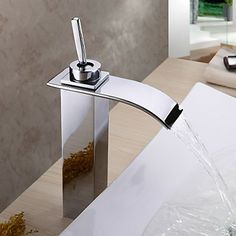 Stainless Steel Chrome Finish Contemporary Water Fall Bathroom Sink Tap