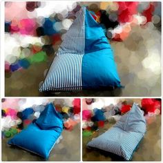 Home made beanbag ... material cover #canvas #cotton #stripe #turquoise. Pre Order. WA +628113501110