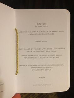 The Dinner Menu in Rijksmuseum   April 29 Abdication Queen Beatrix