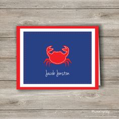So cute!!! Nautical Crab Personalized Note Card, Printable. $8.95, via Etsy.