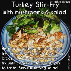 Turkey Stir-Fry #CWP #step2 Mushroom Stir Fry, Mushroom Salad, Cwp Step 2 Recipes, Cambridge Diet Plan, Turkey Stir Fry, 200 Calorie Meals, Sliced Turkey, Stuffed Mushrooms, Stuffed Peppers