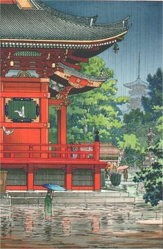 Rain at Asakusa Kannon Temple [Tokyo], by Tsuchiya Koitsu, 1933 -- see also at: http://www.erawoodblockprints.com/items/1211777/item1211777store.html, at: http://scriptum.com/art.cfm?rec_id=4808 and at: http://www.castlefinearts.com/search_results_detail.php?searchByArtist=&searchArchives=113&pageno=32&pn=4&rpp=9