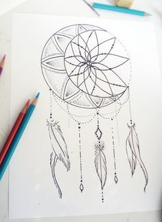 Tattoo Design - Moon Dream Catcher by RobinElizabethArt