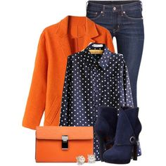 A fashion look from September 2015 featuring H&M jeans, Alexander McQueen ankle booties et Blue Nile earrings. Browse and shop related looks. Fall Fashion Outfits, Curvy Outfits, Fall Winter Outfits, Blue Fashion, Work Fashion, Trendy Outfits, Autumn Fashion, Women's Fashion, Orange Blazer Outfits