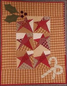 Star Canes & Hollies wall quilt pattern at Woolen Willow Designs