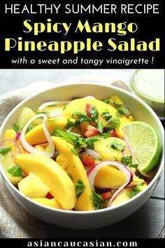 This summery Spicy Mango Pineapple Salad has fresh slices of ripe mangos and chunks of fresh pineapple, tossed together with sliced red onions, fresh mint and cilantro, and drizzled with a tangy, sweet and spicy lime vinaigrette. This easy fresh fruit salad is a perfect picnic recipe and a healthy cookout side dish.#healthyfruitsalad #easysummerrecipe #labordayrecipe #cookoutrecipes Healthy Asian Recipes, Spicy Recipes, Fruit Recipes, Healthy Options, Vegetarian Recipes, Thai Mango Salad, Pineapple Salad, Fresh Fruit Desserts, Fresh Fruit Salad