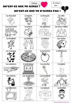 Francés hasta en la sopa...: J'aime... et je n'aime pas... French Verbs, French Grammar, French Phrases, French Basics, French For Beginners, French Teaching Resources, Teaching French, French Language Lessons, French Lessons