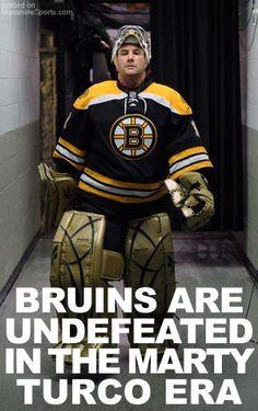 Marty Turco, former Blackhawks goalie, now backup goalie for the Boston Bruins. <3