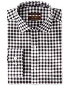 Tasso Elba Men's Regular Fit Non-Iron Burgundy White Bold Herringbone Gingham Dress Shirt, Created for Macy's -