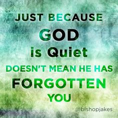 Just because God is quiet doesn't mean he has forgotten you. - TD Jakes