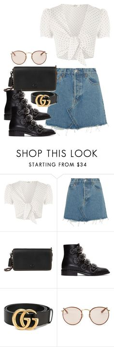 """Untitled #3295"" by camilae97 ❤ liked on Polyvore featuring Oh My Love, RE/DONE, Coach, Givenchy, Gucci and Ray-Ban"