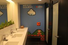 This is the best. A Super Mario themed bathroom!