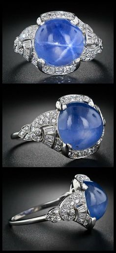 15 carat blue star sapphire and diamond Art Deco ring at Lang Antiques. Circa 1930.