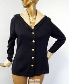 St-John-Evening-USA-Black-Santana-Knit-Gold-Jeweled-Paillette-Jacket-Blazer-12