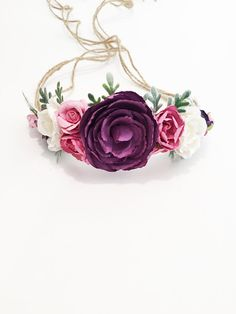 Tieback Flower Crown in Purples, Corals, Ivory & Pink with Greenery Accents. Flowers are mounted on Natural Jute rope. Headband is adjustable and