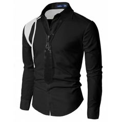 Mens Style Casual Tie Attached Dress Shirts (SH12:DOUBLJU)