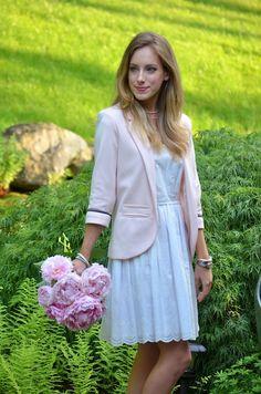 pink blazer + white dress + peonies