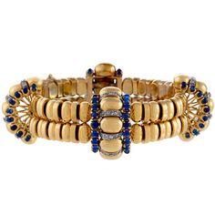 Boucheron - Boucheron Paris Retro Diamond, Blue Sapphire and Gold Bracelet offered by Macklowe Gallery, Ltd on InCollect Gold Link Bracelet, Link Bracelets, Bangle Bracelets, Sapphire Diamond, Blue Sapphire, Boucheron Jewelry, Art Nouveau, Fantasy Jewelry, Vintage Jewelry