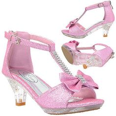 Girl's High Heel Dress Sandals Evening T-Strap Bow Rhinestone Toddler Kids Shoes Source by Shoes High Heels For Kids, Clear High Heels, Shoes For Kids Girls, Toddler Girl Shoes, Pink Kids, Ankle Strap Heels, Ankle Straps, Kid Shoes, Cute Shoes