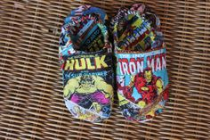 Avengers/ Super Hero Slippers/ CHILDREN'S Slippers , Non-Skid Sole, made with Avengers, Marvel Comic Fabric, Iron Man and Hulk