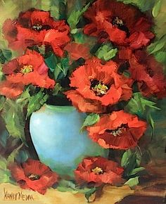 Red Poppy Flame by Texas Flower Artist Nancy Medina, painting by artist Nancy Medina