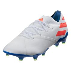 94e3d5b72 adidas Nemeziz 19.1 Messi FG Soccer Cleats Whtie Solar Red Blue-6.5