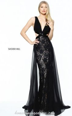Black Sherri Hill 50930 Fitted Lace Prom Dress