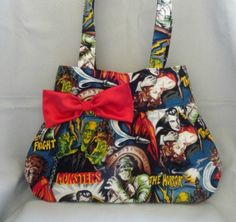 Movie Monsters Bag with Red interior Round edges by RebelDowntown, $40.00