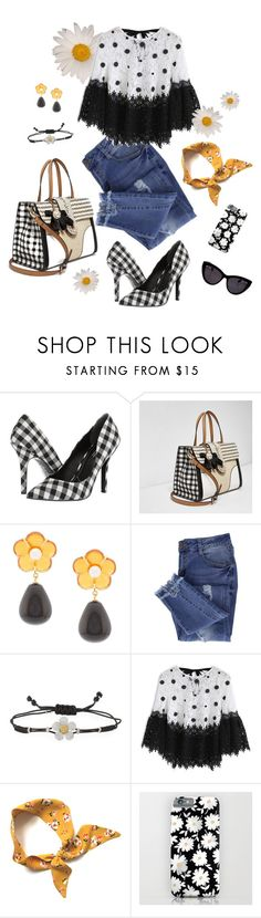 """""""Perfect Pairing—Gingham & Daisy Prints"""" by cmrno ❤ liked on Polyvore featuring Charles by Charles David, River Island, Lizzie Fortunato, Essie, Pippo Perez, Chicwish and MCM"""
