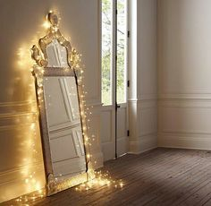 Love the idea, but I would have it hung on the wall and then the lights around the mirror