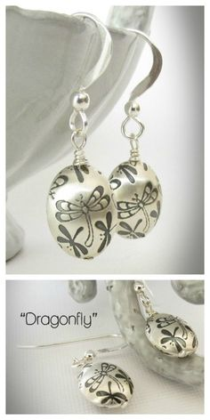 These wonderful dragonfly earrings are handmade from sterling silver, artisan-crafted using a special technique to obtain the embossed texture. #woodland earrings
