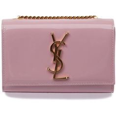Light pink patent leather 'Monogramme' shoulder bag from Saint Laurent featuring a square body, a front flap closure, a gold-tone logo plaque and a gold-tone c…