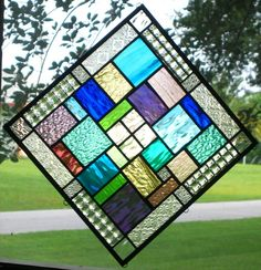 "Geometric Quilt 20"" x 20"" Signed Stained Glass Window Panel Hangs Both Ways"