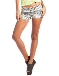 Hot Kiss Tribal Print Denim Short