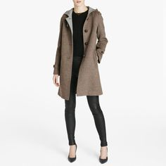 Loden, a time-honored wool textile developed in Austria, is famed for being both lightweight and warm. Here, it lends itself perfectly to a clean hooded shape. Langer Mantel, Winter Gear, Timeless Fashion, Hoods, Textiles, Style Inspiration, Wishful Thinking, Austria, Jackets