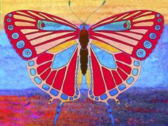 Butterfly Abstract in Red, Gold, and Cerulean