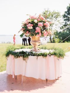Pink Florals   Elegant spring vineyard wedding in Maryland with a gorgeous Hayley Paige dress by Krista A. Jones Photography
