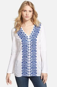 Women's MICHAEL Michael Kors Embroidered V-Neck Jersey Tunic